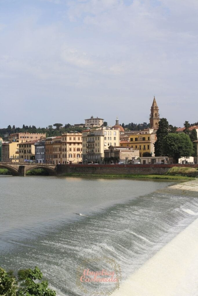 The Ponte Vecchio and Arno River in Florence Italy